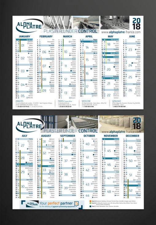Calendrier charte graphique design graphique grille création graphiste Angers Pays de la Loire
