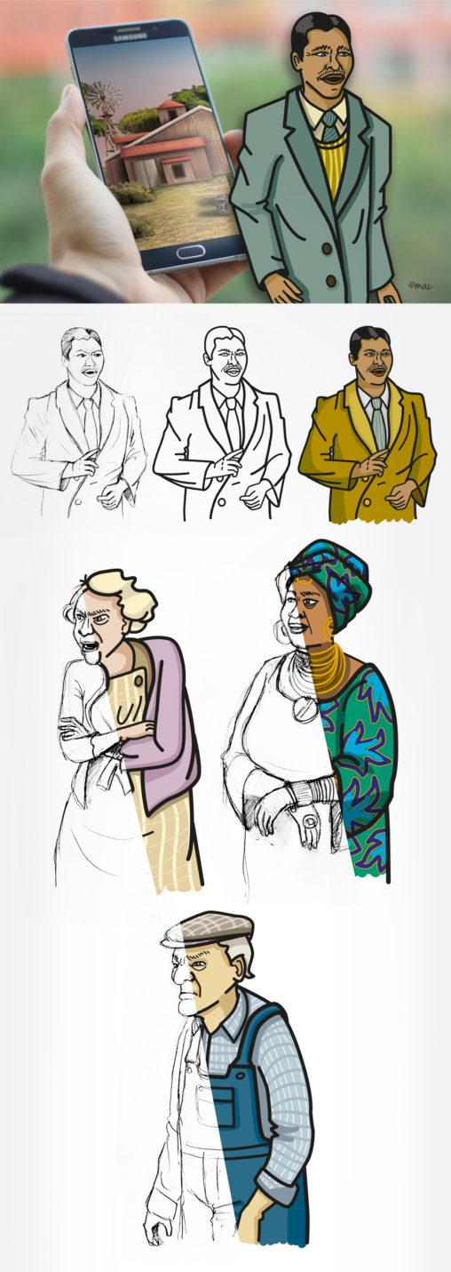 Décor hyperréalisme application jeu personnages vectoriel illustrateur Magali AC Angers Pays de la Loire