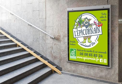 Panneau graphisme Bio traiteur producteur graphiste Angers